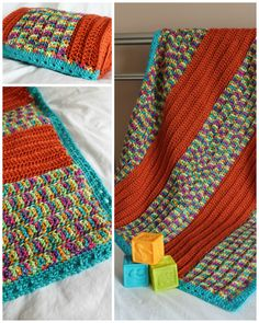 Happy Stripes Crochet Baby Blanket | AllFreeCrochet.com