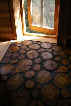 "Real wood log slices are sealed and embedded into a base to make this wonderful rustic ""wood tile"" floor lovely for the cabin in the woods Home Design Decor, House Design, Home Decor, Floor Design, Interior Design, Design Ideas, Design Design, Rustic Design, Tile Design"