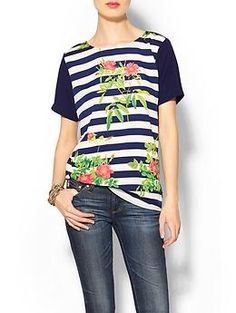 So cute and the floral with the stripes is very on trend! Wells Grace Corey Stripe Floral Tee | Piperlime