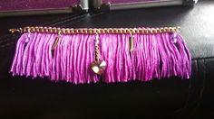 Fuchsia fringed bracelet