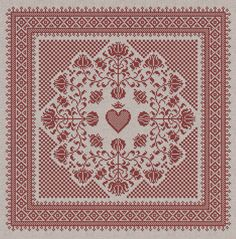 Floral Heart Pillow Cover - Cross Stitch Pattern - Instant Download PDF Booklet