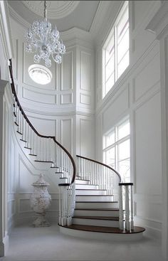 27 Wall Paneling Interior Ideas Interiorforlife.com French Entryway. Unbelievable white entry foyer and curved staircase fabulous trim