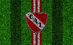 Download wallpapers Club Atletico Independiente, 4k, football lawn, logo, Argentinian football club, grass texture, red white lines, Superliga, Avellaneda, Argentina, football, Argentine Primera Division, Superleague Independiente FC