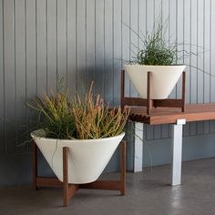 Add a subtle touch of mid-century modern design to your space with the Case Study Apex Planter with Wood Stand!