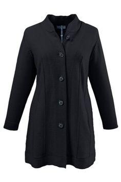 Mooie lange zwarte jas in grote maten bij Ulla Popken - winter 2016