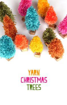 DIY Yarn bottle brush style christmas trees / The Sweet Escape