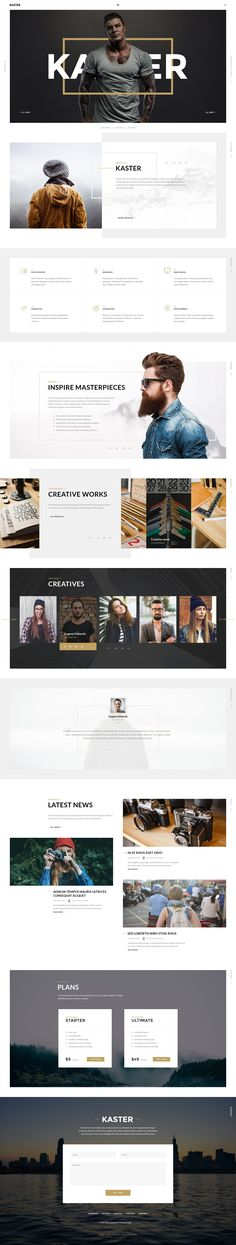 Kaster is a multipages PSD template for creative agency, design studio, #webdevelopment company or any freelancer.  It is perfectly suitable for designer, photographers and all kind of artist who want to show their creative work with style