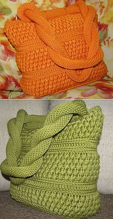I don't like the colours at all, but this looks like a wonderful pattern for a knitted bag and the handle looks very strong!.