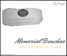 """""""Forever remembered forever missed.."""" Cast Stone Bench w/ Plaque.  #memorialbenches #bench #green #sky #park #art #design #seating #usa #likeformore"""