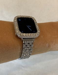 Apple Watch Band Silver Iced out Bling Apple Watch Bezel Lab Diamond Series Custom Deluxe Iwatch Apple Watch Series 1, Apple Watch Bands, Apple Watch Fashion, Silver Apples, Apple Watch Accessories, Silver Labs, Lab Diamonds, Stainless Steel Bracelet, Fashion Watches