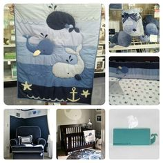 Whale themed nursery-love the while whale over the crib!