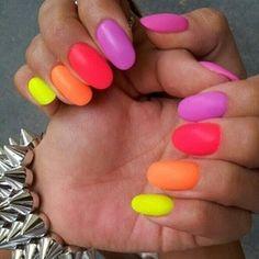 Neon Rainbow Skittle Nails