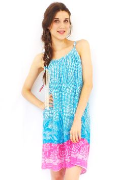 Lulu Dress in Turquoise and Pink $39.99