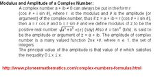 modulus and amplitude of a complex numbers pioneer mathematics