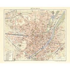 München / Munich Antique Map Reproduction / Old Map Print of Munich - handmade paper print. Amsterdam, Restaurant Interior Design, Old Maps, Travel Gifts, Map Art, Alter, Vintage World Maps, Wall Decor, Canvas Prints