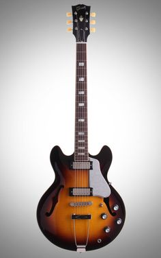 Gibson ES-390 Figured Top Electric Guitar: With a fully hollow, highly figured maple body similar to the ES-390, this electric guitar is loaded with classy, rich tones from the Gibson Mini-humbuckers.