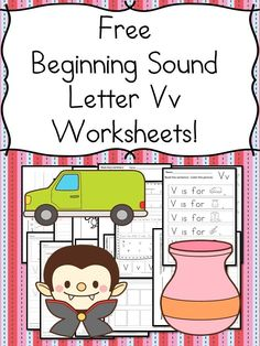 Beginning Sounds Letter V Worksheets Free Beginning Sounds Letter V worksheets to help you teach the letter V and the sound it makes to preschool or kindergarten students. Teaching Letters, Preschool Letters, Preschool Ideas, Preschool Books, Letter V Worksheets, Kindergarten Worksheets, Kindergarten Classroom, Classroom Ideas, 1st Grade Writing Prompts