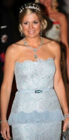 Image result for queen maxima long white dress one shoulder tiara