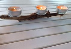 Ikea candle holders + beach wood + hot glue