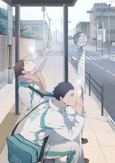 Oikawa Tooru x Iwaizumi Hajime / Haikyuu! Manga Anime, Manga Haikyuu, Me Anime, Haikyuu Fanart, Fanarts Anime, Haikyuu Funny, Anime Characters, Kagehina, Oikawa X Iwaizumi