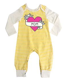 Look at this Yellow 'Mom' Heart Playsuit - Infant on #zulily today!