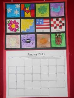 Here is our Christmas calendar. Each student made a piece of art using different materials for each month of the year. I just lamin...