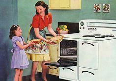 Vintage Mother-Daughter baking. From Secret Recipes for the Modern Wife (secretrecipes.navaatlas.com) originally in 1950s magazine ad.