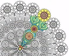 Mandala Coloring Page Sunflower Weave Instant By CandyHippie