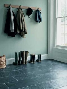 the paint and slate flooring are all nice but what i really want in my dream home is boots lined up in a row.