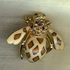 Animal Print Enamel Crystal Bee Pin