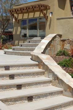 Vein cut Travertine, Tan Pebble Tile rock walls and floor, honed concrete shower bench ---Ashley Campbell Interior Design- Houzz Tile Stairs, Concrete Stairs, Honed Concrete, Concrete Shower, Concrete Porch, Porch Steps, Front Steps, Outside Steps, Tiles Direct
