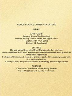 hunger games dinner adventure menu
