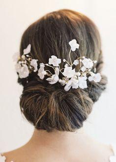 Wedding hairstyle idea; Featured Headpiece: Erica Elizabeth Koesler