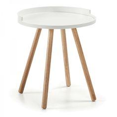 Mesa auxiliar Kurb grande, color blanco · 65€