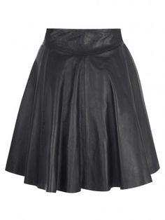 Muubaa Pipri Leather Skater Skirt in Black