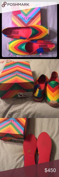 69d66111876a Selling this Authentic Valentino Garavani Rainbow Espadrilles on Poshmark!  My username is  kansaspokerwife.