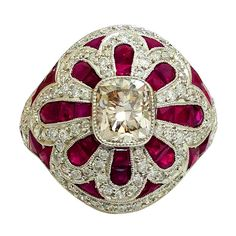 Ruby Diamond Platinum Ring | From a unique collection of vintage cocktail rings at http://www.1stdibs.com/jewelry/rings/cocktail-rings/