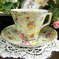 Lord Nelson Ware Chintz Rose Time Tea Cup and Saucer