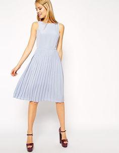 ASOS Midi Skater Dress with Pleated Skirt
