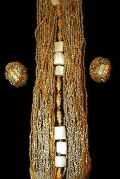 From My Personal Collection Multi-strand Glass Seed Bead, MOP Gold Nugget Bead Necklace Earring Set