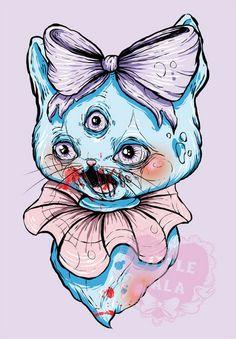 "A4 Print of a ""Speak No Evil"" Kitten Illustration by Little Lala. $15.00, via Etsy."