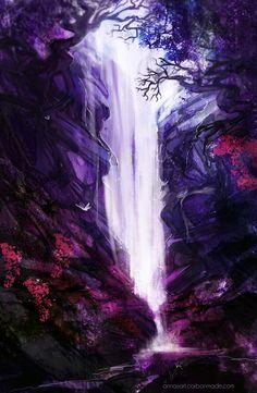 Violet waterfall by *iZonbi on deviantART