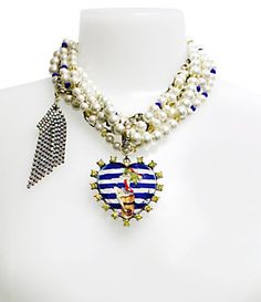 Betsey Johnson Pin-Up Girl Heart Pendant Faux-Pearl Necklace | Dillard's Mobile