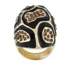 Off Park Gold Tone Champagne Crystal Black Enamel Leopard Print Ring