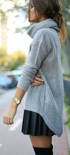 Cozy knit and pleated skirt.