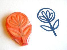 folk art flower  etsy shop #GreenGardenStamps