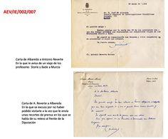 Dos cartas intercambiadas entre el director del  centro de investigación, que en aquel momento era José Mª Albareda y el Presidente de la Diputación de Murcia que acababa de ser dimitido. Instituto de Ciencias Agrarías - CSIC