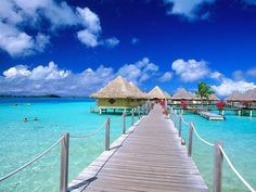 Overwater banglows In Tahiti.