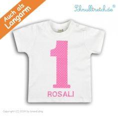 Baby T-Shirt mit Namen No.1 Rosa