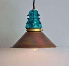 Glass Insulator Projects | glass insulator crafts | Vintage Glass Insulator Pendant Lamp with ...